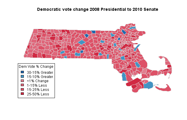 Democratic vote change 2010 to 2008